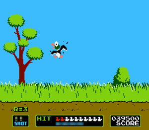 Light gun shooter - Duck Hunt. The game is viewed through the eyes of the protagonist; the player is using a light gun controller to target an on-screen duck.