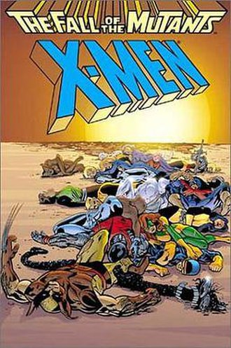 The Fall of the Mutants - Cover to the Fall of the Mutants TPB, featuring the art by Alan Davis that advertised the crossover event within various Marvel titles.