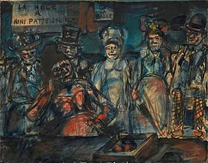 Georges Rouault - Georges Rouault, 1905, Jeu de massacre (Slaughter), (Forains, Cabotins, Pitres), (La noce à Nini patte en l'air), watercolor, gouache, India ink and pastel on paper, 53 x 67 cm, Centre Georges Pompidou, Paris