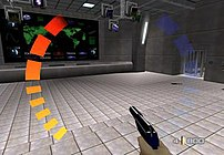 Bond holding the silenced PP7 in the Bunker level. The red bar indicates that the player took a hit.