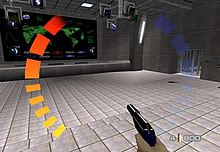 A bunker with a floor full of tiles, a large screen displaying a world map in a wall, and monitors in the ceiling. A hand holding a gun is seen on the bottom right corner. Around the image are graphic symbols representing health, ammo and armor of the player.