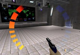 GoldenEye 007 (1997 video game) - Bond holding the silenced PP7 in the Bunker level. The red and blue bars represent the player's health and armour levels respectively. Ammunition information is displayed at the bottom right corner. If both armour and health are completely depleted, Bond will die with blood dripping down the screen like the famous gun barrel sequence.