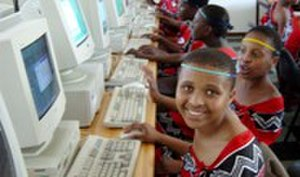 Computer Aid International - Girls' School in Swaziland using Computer Aid PCs
