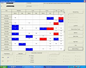 Diabetes management software - Example 1: An electronic logbook that can collect and manage data from multiple sources