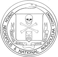 Skull and crossbones and an expired hourglass, surrounded by a snake eating its own tail
