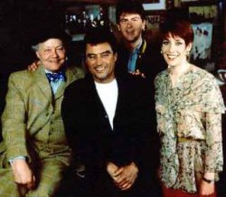 Lovejoy - The main cast from the series 1 to 5 (from left), Dudley Sutton, Ian McShane, Chris Jury and Phyllis Logan.