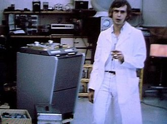 Magic Alex - Mardas in the Apple Electronics laboratory with some of the equipment he used