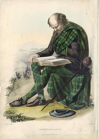 Carter-Campbell of Possil - Campbell of Argyle. A romanticised Victorian-era illustration of a Clansman by R. R. McIan from The Clans of the Scottish Highlands published in 1845.
