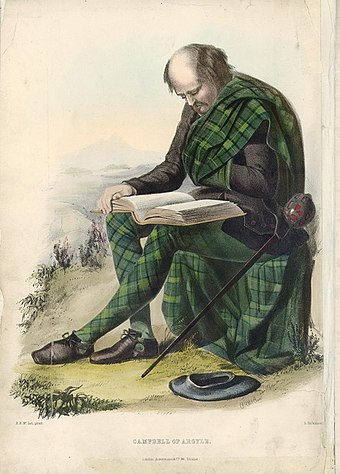 Campbell of Argyle. A romanticised Victorian-era illustration of a Clansman by R. R. McIan from The Clans of the Scottish Highlands published in 1845. Mcicamp.jpg