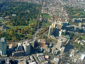 St Kilda Road, Melbourne - Aerial view of the Domain interchange on St Kilda Road. The road passes along the southern edge of Shrine of Remembrance then diagonally to the right of the frame
