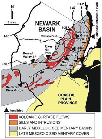 Geography of New Jersey - USGS map of the Newark Basin showing major highways