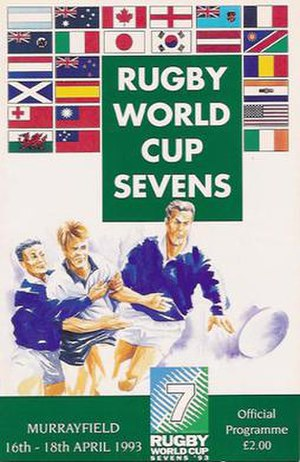 1993 Rugby World Cup Sevens - The Official Programme of the 1993 Rugby World Cup Sevens in Edinburgh showing the flags of the competing nations