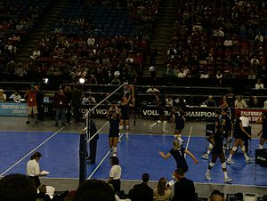 Penn State Nittany Lions women's volleyball - Penn State practicing before the 2007 NCAA championship against Stanford in Sacramento, California at the ARCO Arena