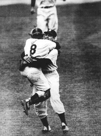 "Perfect game - The ""everlasting image"" of New York Yankees catcher Yogi Berra leaping into the arms of pitcher Don Larsen after the completion of Larsen's perfect game in the 1956 World Series"