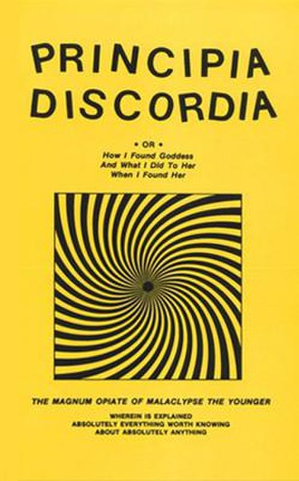 """Principia Discordia - The Loompanics """"Yellow Cover"""" combined 4th and 5th Edition Principia Discordia, (1979). In print until the company went out of business in 2006."""