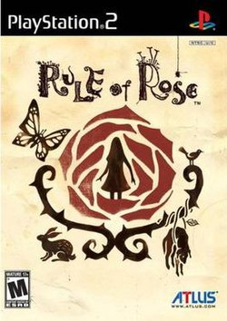 A video game cover. At the top is the PlayStation 2 logo, followed by Rule of Rose and a picture of a girl within a rose; around the thorns of the rose are a butterfly, a rabbit, a bound dog and a bird. Near the bottom is the Mature rating of the game and Atlus.