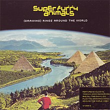 Cover shows curvature of earth, a river, mountains in the background, two pyramids, greenery and one figure in foreground.