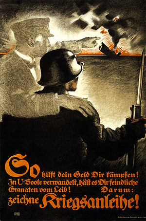 Lucian Bernhard - A World War I German propaganda poster urging the sale of war bonds in the Plakatstil style pioneered by Bernhard. His characteristic two-story signature is at bottom left.