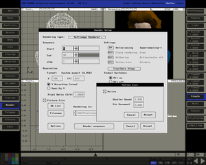 Softimage 3D - Softimage Creative Environment 2.66 - Matter module with Render Setup dialogue box