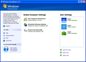 Windows SteadyState 2.5 running on Windows XP