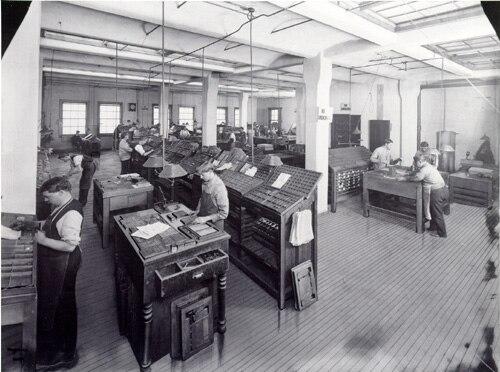 Street & Smith composing room circa 1900