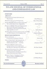 A typical Tulane Journal of International and Comparative Law cover.