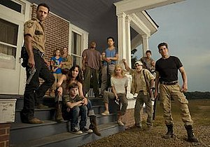 The Walking Dead (season 2) - The primary characters of the second season include (from left to right): Rick, Sophia, Carol, Lori, Carl, T-Dog, Glenn, Andrea, Dale, Daryl, and Shane