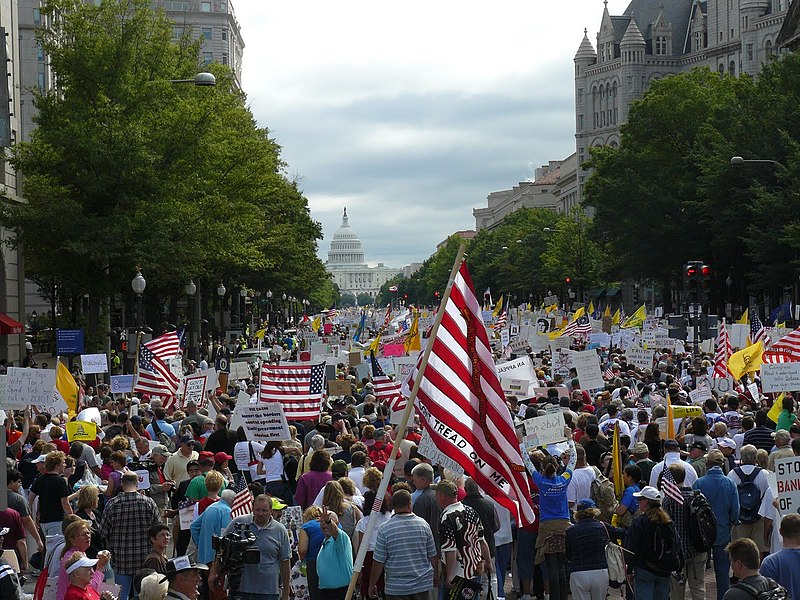 March of tea-party supporters in Washington. lots of flags