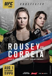 A poster or logo for UFC 190: Rousey vs. Correia.