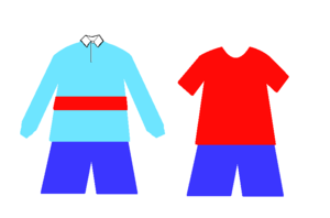 Lycée Français Charles de Gaulle - Winter sports uniform (left) and summer sports uniform (right).