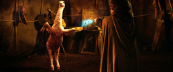 A little man in a hooded cloak with his back to the camera holds a lightening wand toward a two-legged animal that appears to be part goat and part ostrich.