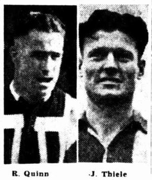 1945 SANFL Grand Final - Image: 1945 SANFL Grand Final captains Quinn Thiele