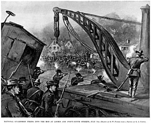 Pullman Strike - Lurid depiction of Illinois National Guardsmen firing into the mob on July 7, 1894, the day of greatest looting and violence.