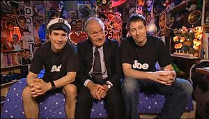 Adam and Joe - From left: Adam Buxton, Nigel Buxton, and Joe Cornish on the set of The Adam and Joe Show (Series 4)