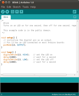 Screenshot of the Arduino IDE showing the Blink simple beginner program