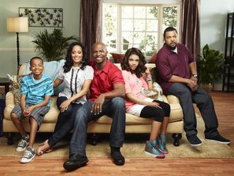 Are We There Yet? (TV series) - The cast of Are We There Yet? (from left to right), Coy Stewart as Kevin, Essence Atkins as Suzanne, Terry Crews as Nick, Teala Dunn as Lindsey and recurring cast member Ice Cube as Terrence.