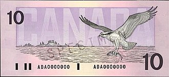 Birds of Canada (banknotes) - The obverse and reverse of the Birds of Canada $10 banknote.