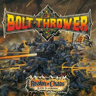 Bolt Thrower - The cover of the 1989 album Realm of Chaos, which uses John Sibbick's cover artwork from Warhammer 40,000: Rogue Trader, the first edition of Warhammer 40,000.