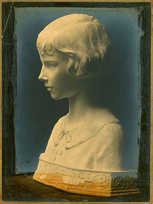 Walter Leighton Clark - Bust of Betsey Dunn, Walter Leighton Clark, Studio of Daniel Chester French.  Glass positive, whereabouts of bust unknown at present