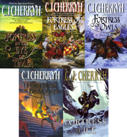 Cherryh's Fortress series book covers.png