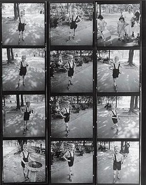 Child with Toy Hand Grenade in Central Park - Arbus' contact sheet from the photo shoot