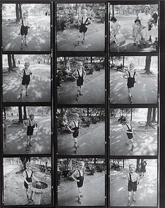 Contact print - A 120 roll film proof sheet of Diane Arbus's containing her Child with Toy Hand Grenade in Central Park from 1962
