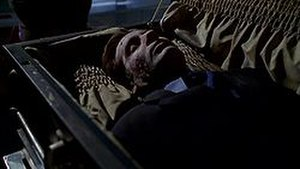 Deadalive - The exhumed three-month-old body of Fox Mulder. The scene featured a double wearing a mask of David Duchovny's head.