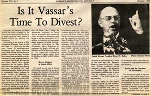 Disinvestment from South Africa - Image: Divest Front Page Vassar College Student Newspaper