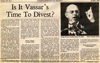 Disinvestment from South Africa - The campaign gained prominence in the mid-1980s on university campuses in the US. The debate headlined the October 1985 issue (above) of Vassar College's student newspaper.