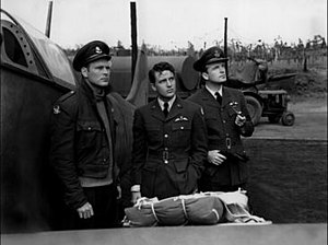 Eagle Squadron (film) - Eagle Squadron featured both American and British actors. L-R: Americans Jon Hall and Robert Stack flank British actor John Loder.