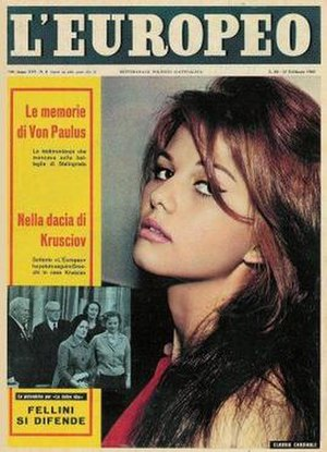 L'Europeo - Claudia Cardinale on the cover of L'Europeo, February 1960