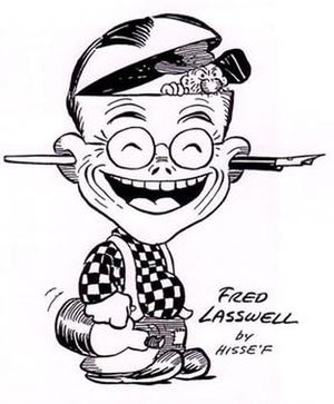 Fred Lasswell - In this imaginative self-caricature, Fred Lasswell showed how he has merged with his comic strip character, Snuffy Smith, who has taken over both his body and brain.