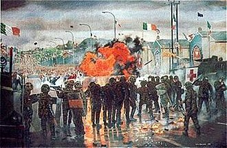 """1997 Northern Ireland riots - """"Drumcree, The Garvaghy Road July 1997"""" by military artist David Rowlands, oil on canvas, 91cm x 61 cm, painting owned by the 1st Battalion (The Cheshires) The Mercian Regiment which depicts British soldiers during the rioting on Garvaghy Road"""