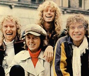 Gasolin' - Gasolin' in the seventies. From left to right: Franz Beckerlee, Wili Jønsson, Søren Berlev and Kim Larsen.